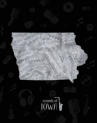 Music Royalty-Free and Rights-Managed Images - Iowa Map Music Notes 2 by Bekim Art