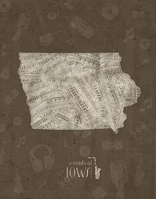 Music Royalty-Free and Rights-Managed Images - Iowa Map Music Notes 3 by Bekim Art