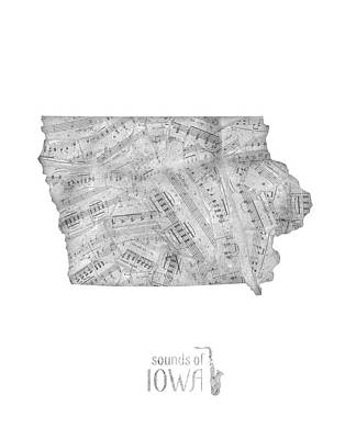 Music Royalty-Free and Rights-Managed Images - Iowa Map Music Notes  by Bekim M