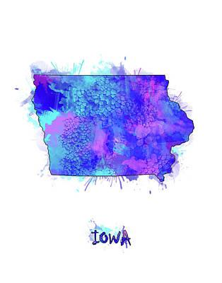 Mississippi State Map Digital Art - Iowa Map Watercolor 2 by Bekim Art