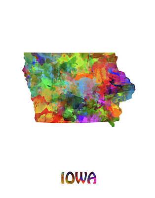Mississippi State Map Digital Art - Iowa Map Watercolor by Bekim Art