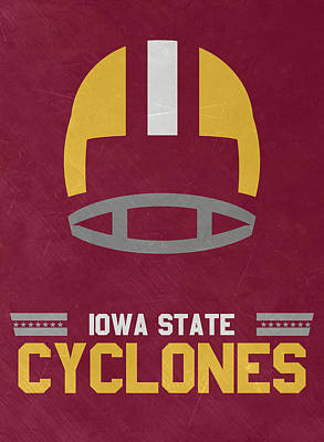 Mixed Media - Iowa State Cyclones Vintage Football Art by Joe Hamilton