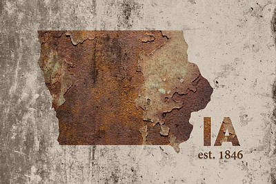 Cement Mixed Media - Iowa State Map Industrial Rusted Metal On Cement Wall With Founding Date Series 035 by Design Turnpike