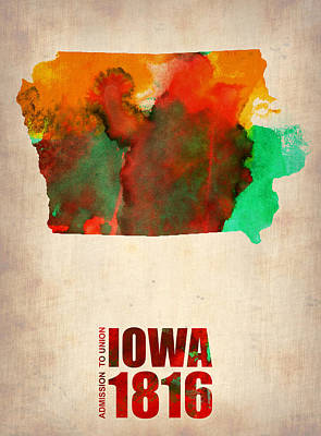 Us State Map Digital Art - Iowa Watercolor Map by Naxart Studio