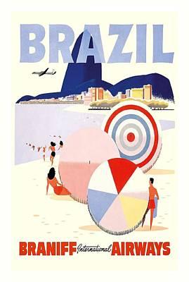 Summer Digital Art - Ipanema Brazil Braniff International Airways Vintage Travel Poster by Retro Graphics