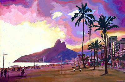 Ipanema Sunset Art Print by Douglas Simonson