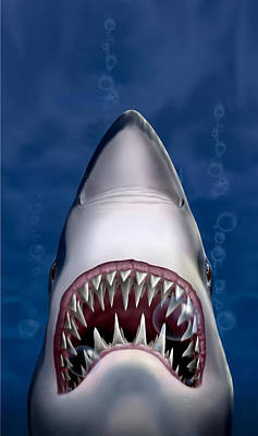 iPhone - Galaxy Case - Jaws Great White Shark Art Art Print by Walt Curlee