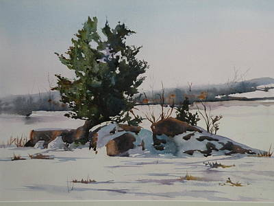Salt Marsh. New England Painting - Ipswich Marsh In Winter by Marion Hall
