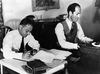 Ira Photograph - Ira And George Gershwin At Work by Everett