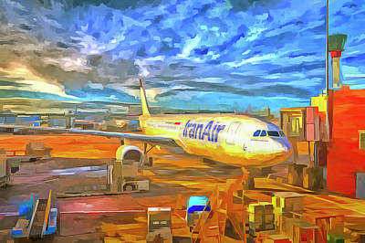 Photograph - Iran Air Airbus A330 Pop Art by David Pyatt