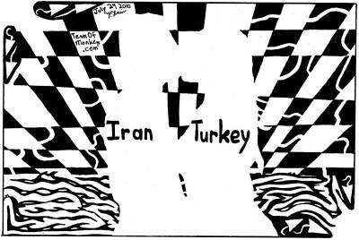 Iran And Turkey Kissing At Sunset By Yonatan Frimer Art Print by Yonatan Frimer Maze Artist