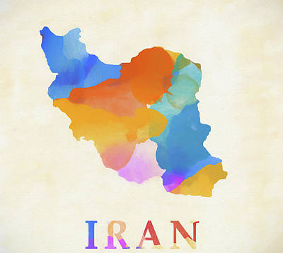 Painting - Iran Watercolor Map by Dan Sproul