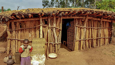 Photograph - Iraqw Village Hut And Child by Marilyn Burton