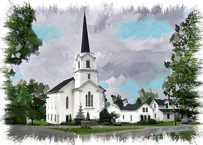 Painting - Irasburg Vt. Church by John Selmer Sr