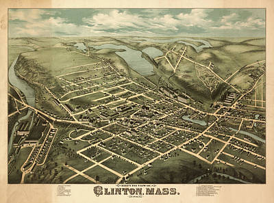 1876 Mixed Media - ird's eye view of Clinton, Mass. by Bailey
