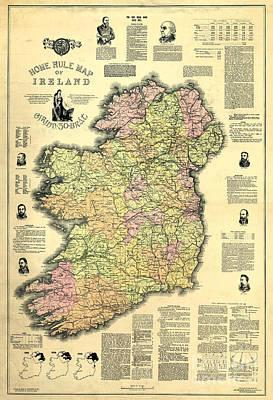 Old Map Photograph - Ireland 1893 Map by Jon Neidert