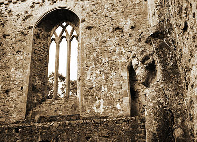 Photograph - Ireland Athassel Priory Tipperary Medieval Ruins Profile Of St Joseph Statue Gothic Window Sepia by Shawn O'Brien
