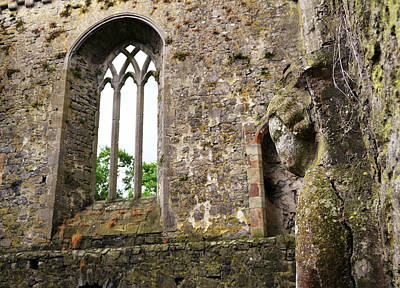 Photograph - Ireland Athassel Priory Tipperary Medieval Ruins Profile Of St Joseph Statue Gothic Window by Shawn O'Brien