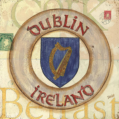 City Scape Painting - Ireland Coat Of Arms by Debbie DeWitt