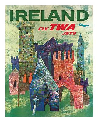 Celtic Digital Art - Ireland Colorful Castles Twa Vintage Airline Travel Poster By David Klein by Retro Graphics