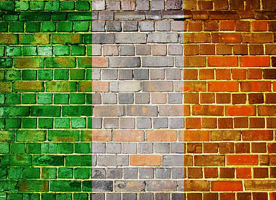 Digital Art - Ireland Flag On A Brick Wall by Steve Ball