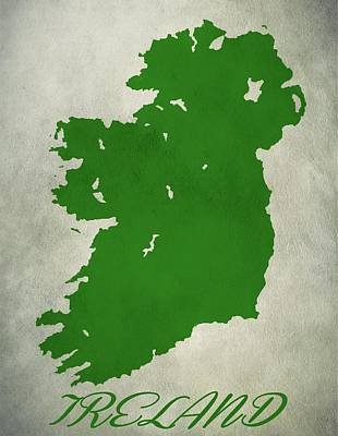Ireland Grunge Map Art Print by Dan Sproul