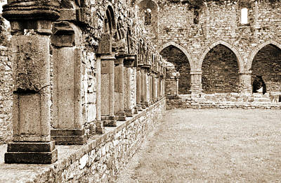 Photograph - Ireland Jerpoint Abbey Cloister Arcade Columns Irish Churches County Kilkenny Sepia by Shawn O'Brien