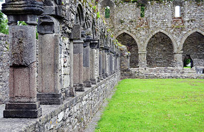 Photograph - Ireland Jerpoint Abbey Cloister Arcade Columns Irish Churches County Kilkenny by Shawn O'Brien