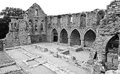 Photograph - Ireland Jerpoint Abbey Irish Church Medieval Ruins County Kilkenny Black And White by Shawn O'Brien