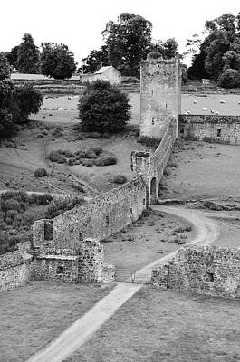 Photograph - Ireland Kells Priory Outer Wall Gatehouse And Fortified Tower County Kilkenny Black And White by Shawn O'Brien