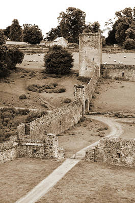 Photograph - Ireland Kells Priory Outer Wall Gatehouse And Fortified Tower County Kilkenny Sepia by Shawn O'Brien