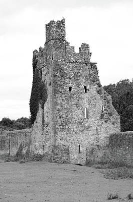 Photograph - Ireland Kells Priory Seven Towers Medieval Castle Tower House Ruin County Kilkenny Black And White by Shawn O'Brien