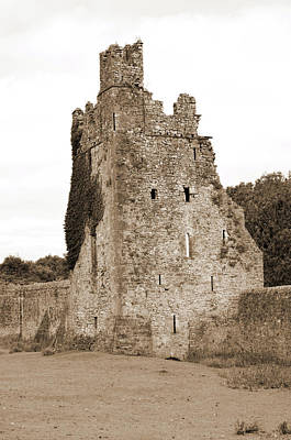 Photograph - Ireland Kells Priory Seven Towers Medieval Castle Tower House Ruin County Kilkenny Sepia by Shawn O'Brien