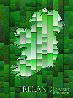 Digital Art - Ireland Map Glasa In Green And White by Eleven Corners