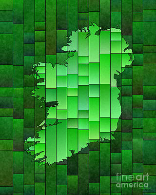 Digital Art - Ireland Map Glasa In Green by Eleven Corners