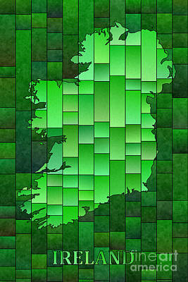 Digital Art - Ireland Map Glasa In Green With Ireland Text by Eleven Corners