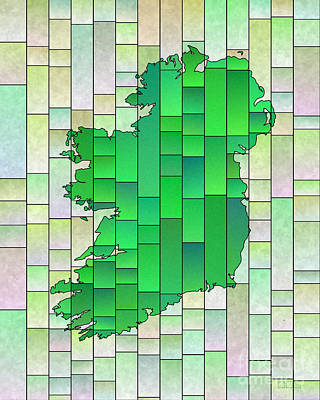 Digital Art - Ireland Map Glasa In Pale Green by Eleven Corners