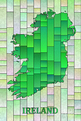 Digital Art - Ireland Map Glasa In Pale Green With Ireland Text by Eleven Corners