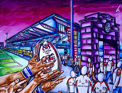 Belfast Painting - Ireland North - Ulster Rugby by Harv Harbinson