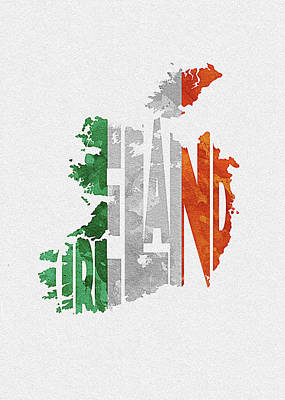 Tourism Digital Art - Ireland Typographic Map Flag by Inspirowl Design