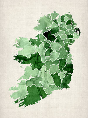 Cartography Wall Art - Digital Art - Ireland Watercolor Map by Michael Tompsett