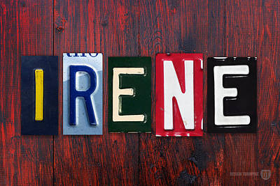 Signed Mixed Media - Irene License Plate Lettering Name Sign Art by Design Turnpike