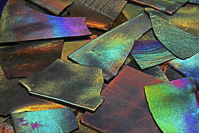 Photograph - Iridescence Angles, Curves Greens Blues Browns Rusts Yellows Geometric 2 8312017  by David Frederick