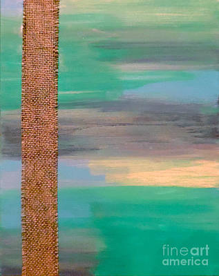 Fabric Mixed Media - Iridescent Aqua And Burlap by Jilian Cramb - AMothersFineArt