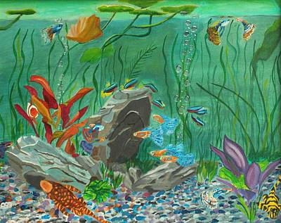 Fish Painting - Iridescent  Aquarium by David Bigelow