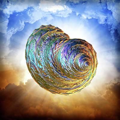 Iridescent Mixed Media - Iridescent Shell by Lilia D