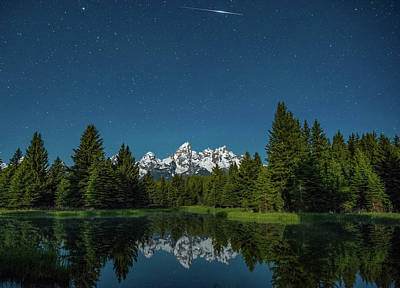 Photograph - Iridium Flare Over Grand Teton by Darren White