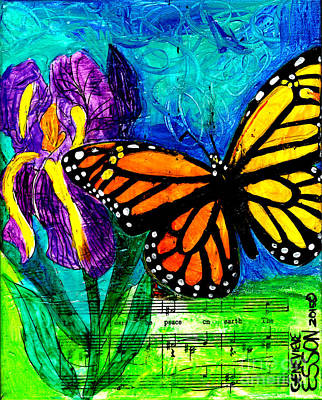 Iris And Monarch Art Print by Genevieve Esson