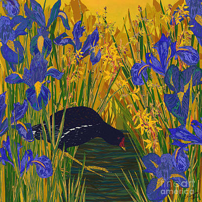 Iris And Moorhen Art Print by Lotti Brown