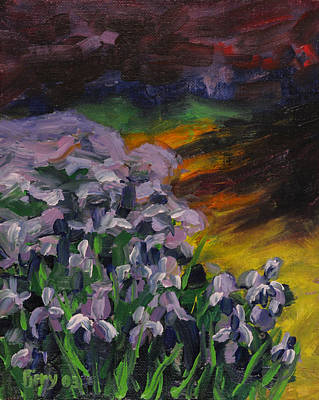 Painting - Iris Bed In Twilight by Ken Fiery